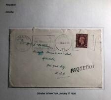 1938 Gibraltar Paqueboat Slogan Cancel Cover To New York USA