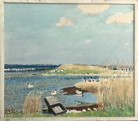 Impressionist Karl Adser 1912-1995 Sunny Apriltag at Mee - Seagulls Ducks Reed