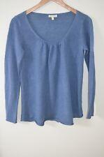 Eileen Fisher Blue 100% Linen Scoop Neck Long Sleeve Knit Top Size XS