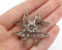 925 Sterling Silver - Vintage Filigree Floral Star Designed Brooch Pin - BP5841