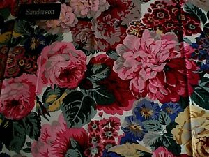 """SANDERSON FABRIC FOR CUSHIONS/LAMPSHADES """"ROSE & PEONY"""" 36 X 145 CM COTTON"""
