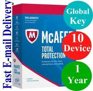 McAfee Total Protection 10 DEVICE / 1 YEAR (Unique Global Key Code) 2020 NO CD!!