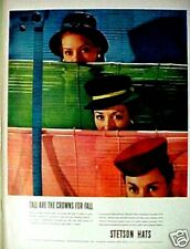 WWII 1945 Womens Vintage Fashion Stetson Hats Green Beret Style Trade Promo AD