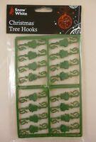 32 Plastic Star & Bell Christmas Tree Hooks - Green (PM183)