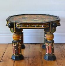 Vintage  solid wood coffee table side table hand painted Indian Boho