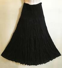 Hippie Bohemian Festival Gypsy Party Smocked Crinkle Lined Skirt or Dress Black