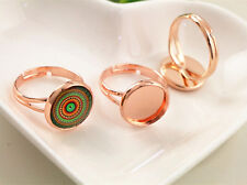 10pcs Rose Gold Plated Adjustable Ring Blank/Bases | Fit 12mm Cabochons