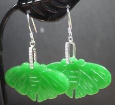 925 Sterling Silver Green Jade Earring Earrings Dangle Bat Butterfly 287153