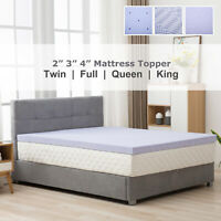 2/3/4'' Twin Full Queen King Comfort Gel Memory Foam Mattress Topper Lavender