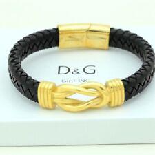 """DG Men's Stainless-Steel 8"""" Gold Black Braided.Leather Magnetic-Bracelet*BOX"""