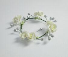 Handmade White Flower Crown Headband Hair Accessories For Barbie Doll Ooak #45
