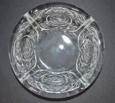 """Ashtray Rose Design Pattern Clear Glass Indonesia Round 4 Rests 6"""" Diameter"""