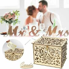 Mr&Mrs Rustic Engagement Wedding Card Box Wishing Wooden Money Hollow Heart Box