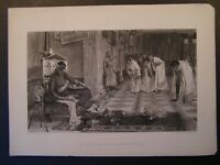 1800s Engraving Etching - The Favourites of the Emperor Honorius J W Waterhouse