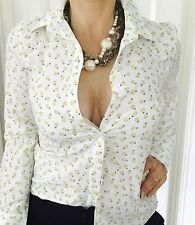 SPORTSCRAFT WOMENS SHIRT TOP BUTTONS LONG SL COTTON PEAR PRINT SZ 8