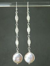 White Freshwater Coin Pearls, Vintage MoP & 925 Sterling Silver Long Earrings
