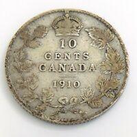 1910 Canada 10 Ten Cent Silver Dime Canadian Circulated Edward VII Coin J323