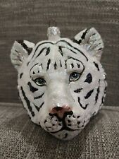 "Slavic Treasures ""White Bengal Tiger"" Blown Glass Ornament"