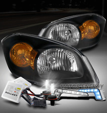 FOR 05-10 CHEVY COBALT/07+ G5/06 PURSUIT BLACK HEADLIGHT W/BLUE LED DRL+HID KIT