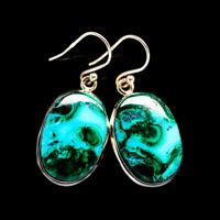 """Malachite In Chrysocolla 925 Sterling Silver Earrings 1 3/8"""" Jewelry E396573F"""