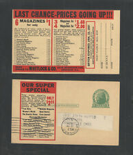 1936 Whitlock & Co Magazine Sales Chicago Ill Advertising Us Postal Card Ux27
