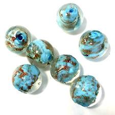 10 Aqua Lampwork Glass 16mm Round Beads