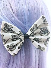 Harry Potter Inspired Handmade Hair Bow - Hogwarts Black and White Hair Clip