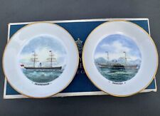 More details for pair royal worcester bone china trinket pin dishes agamemnon&orestes ships boxed