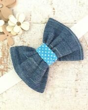 BLUE DENIM DOG BOW TIE WITH BLUE POLKA DOT CENTRE SLIDE ON COLLAR ELASTIC LOOP