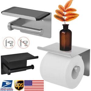 Wall Mount Bathroom Toilet Paper Phone Holder Tissue Roll Rack w/ Storage Shelf