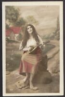 Edwardian Gypsy Girl barefoot antique french tinted real photo postcard