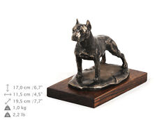 American Staffordshire Terrier , dog bust/statue on wooden base , ArtDog , Ca