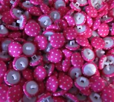 50   Fabric Covered  Acrylic  Shank  Buttons  Pink /White  Spots   13mm  Wt 25 g