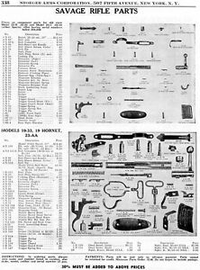 1952 Print Ad of Savage Model 23B 23C 19-33 19 Hornet & 23-AA Rifle Parts List