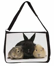 Rabbit and Guinea Pigs Print Large Black Laptop Shoulder Bag School/Coll, AR-9SB