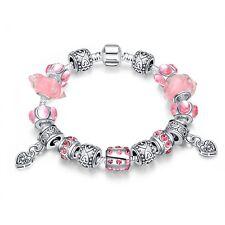 Damen Armband Bettelarmband Beads pink Zirkonia pl. mit Sterlingsilber 20cm
