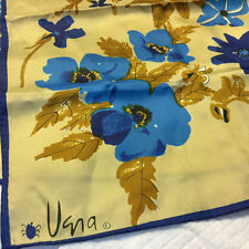 Vintage VERA Scarf VERA NEUMANN Scarf Rectangle Wrap Floral Scarf Blue, Tan