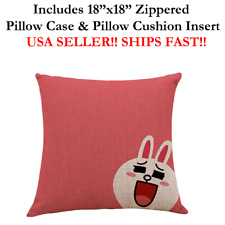 """18x18 18"""" 18in WHITE FUNNY LAUGHING BUNNY RABBIT Zippered Throw Pillow Cushion"""