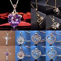 Heart Flowers Cross CZ Zircon Crystal Pendant Necklace Women Wedding Jewelry Hot