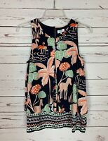 Crown & Ivy Boutique Women's XS Extra Small Navy Tropical Spring Summer Top Tank