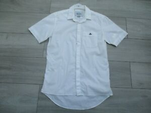 Vivienne Westwood White Short Sleeve Shirt Size 48 M Stretch Slim Fit