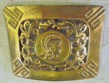 ANCIENNE BELLE  BOUCLE DE CEINTURE EN METAL DORE DECOR A LA GRECQUE N3650