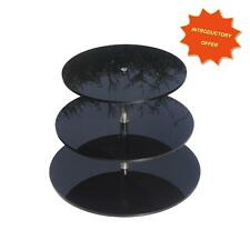 3 TIER HIGH GLOSS BLACK ACRYLIC CUP CAKE MUFFIN WEDDING DISPLAY STAND