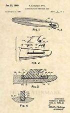 Official Surfboard US Patent Art Print-Vintage 1969 Antique Surf Board Surfer398