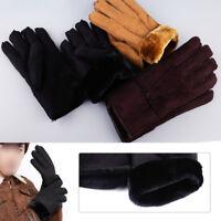 Femmes hiver fourrure brassard mitaines en peau de mouton gants à doigts complet