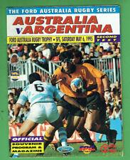 #Kk. Rugby Union Program - 6/5 1995, Australia V Argentina