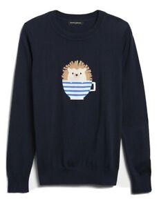 Banana Republic Hedgehog Intarsia Crew-Neck Sweater Navy Blue MEDIUM PETITE