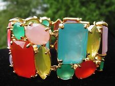 HUGE KATE SPADE NEW YORK GUMDROP GEMS GOLD BIB STATEMENT BRACELET AMAZING!