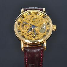 Herren SOKI golden Skelett mechanische Handaufzug Leder Armband Uhr