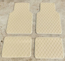 4x Beige PU Leather Car Floor Mats Front &Rear Floor Carpet Interior Accessories